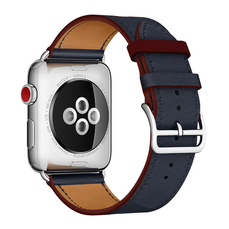 Newest Leather Strap For Apple Watch Series 4 Single Tour Genuine Leather Watchbands For Apple Series 1 2 3 herm Strap 38mm 42mm 42mm 38mm for apple watch s3 series 3