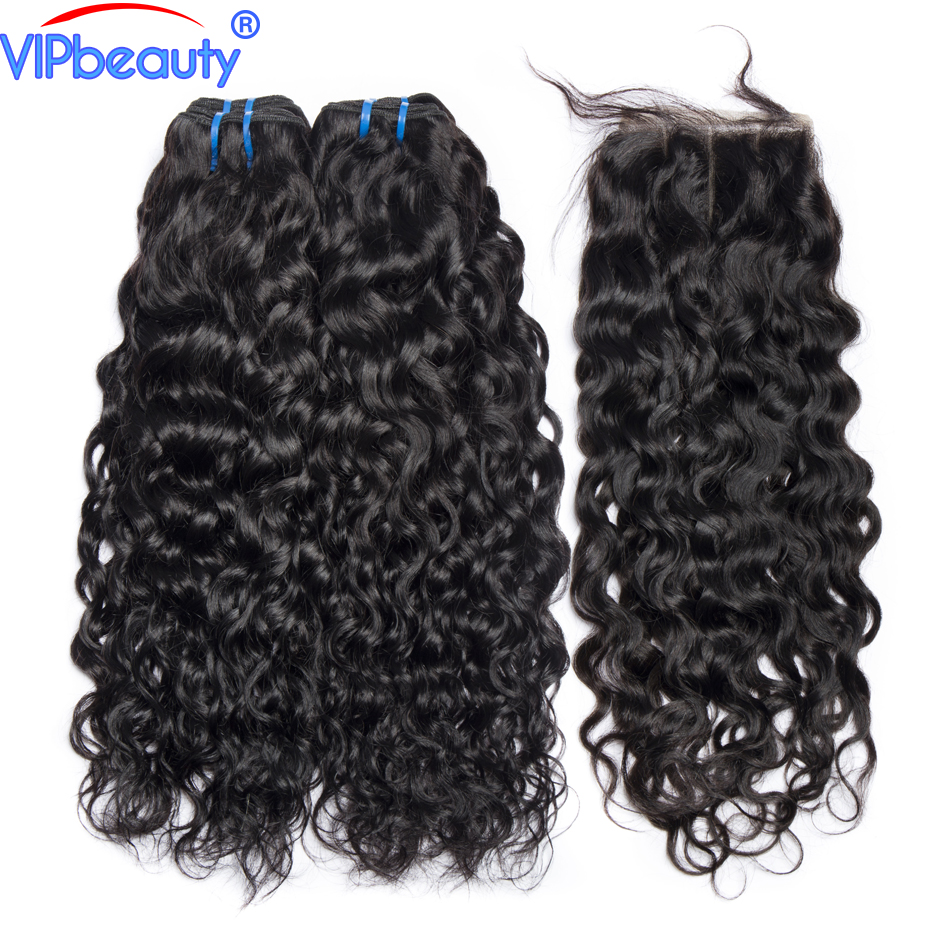 Vip beauty Indian water wave weave bundles human hair bundles with lace closure Non remy hair