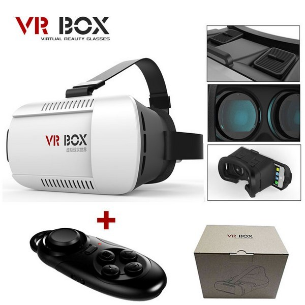 Google cardboard VR BOX Version Virtual Reality Glasses + Smart Bluetooth Wireless Mouse / Remote Control Gamepad with package