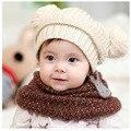 2016 New Outono Chapéu Do Bebê Inverno Estilo Capô Cap Criança Crochê Headwear Encantador do Bebê Tampa de Proteção do Ouvido Inverno de Lã chapéu