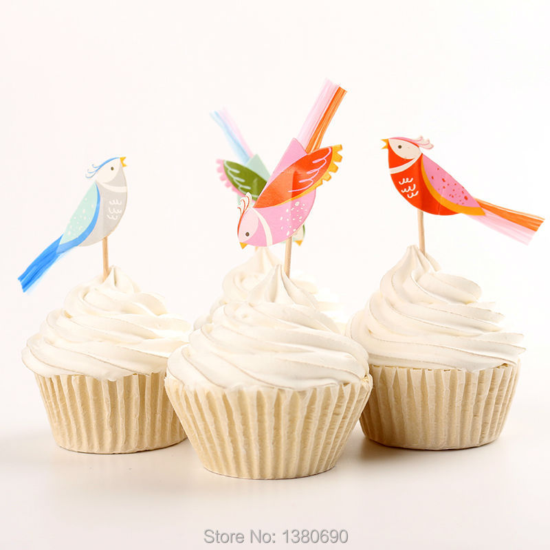 24pcs Cute Bird Cupcake Toppers Picks Funny Wedding Cake Toppers Cake Decorating Supplies Baby Party Decoration Accessories ...