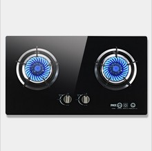 Home Knob Built-in Gas Hobs Gas Embedded Double Cooktop Stove Liquefied Gas Energy Saving Black Crystal Explosion-proof Tempered