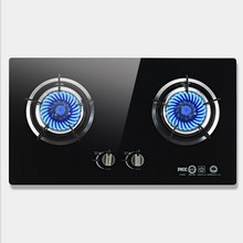 Home-Knob Gas-Embedded Built-In-Gas Hobs Double-Cooktop Black Stove-Liquefied Crystal