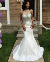 Mermaid Prom Dresses 2019 Halter Beaded with Rhinestones Backless Formal Evening Party Gowns Heavy Beaded White Graduation Gowns