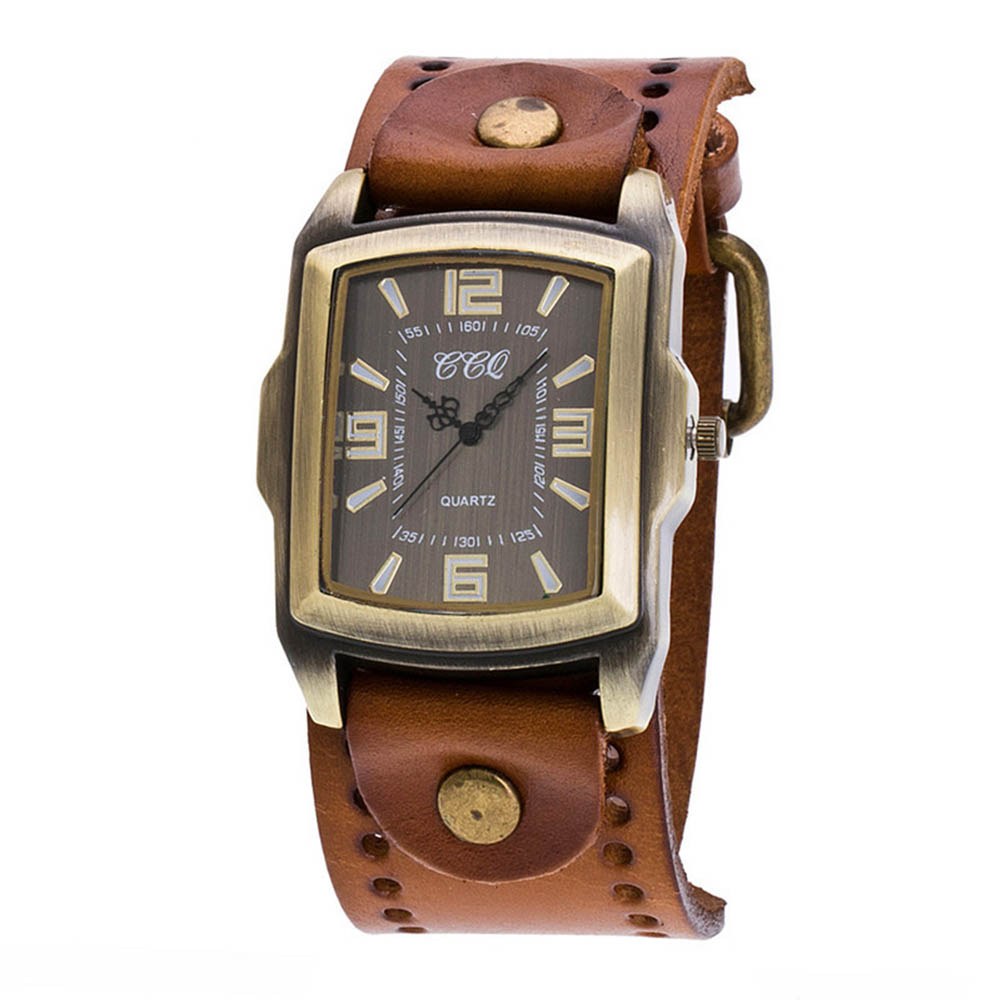 CCQ Women Men Vintage Quartz Watch PU Leather Bracelet Wristwatch Casual Clock For Couple Lovers' TT@88