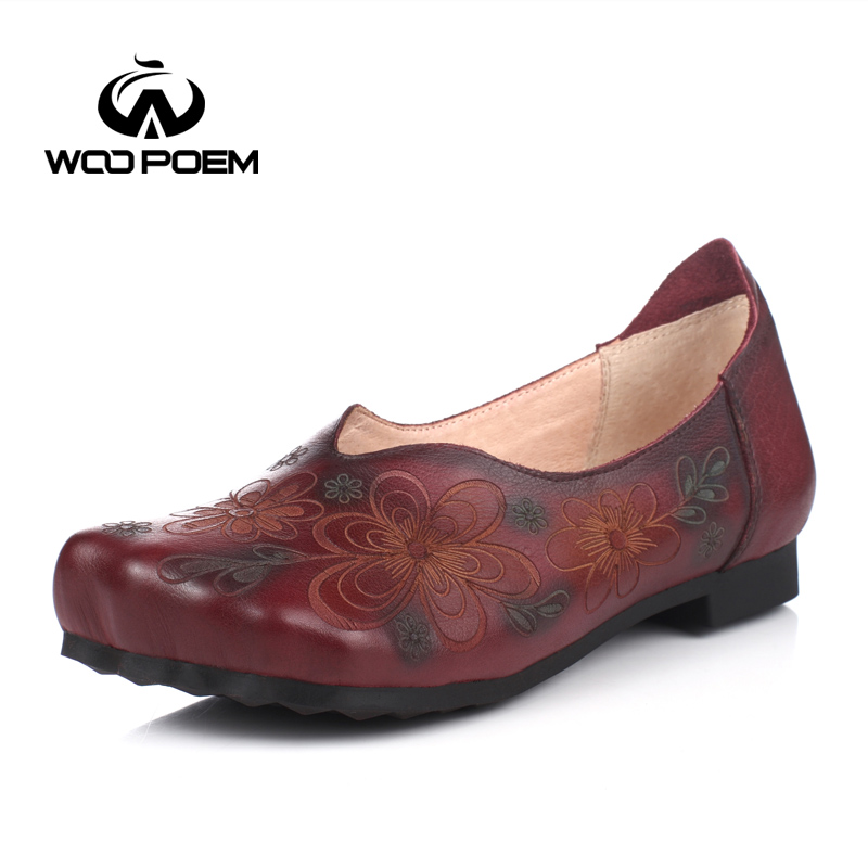 WooPoem Spring Autumn Shoes Women Breathable Cow Leather Flat Comfortable Low Heel Flats Female Casual Flower Shoes 9618-2 woopoem spring autumn shoes women