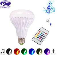 RGB Bluetooth динамик умная Светодиодная лампа E27 светильник 12 Вт музыкальный светодиодный дисплей с регулируемой яркостью Беспроводная лампада ...