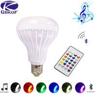 Rgb-колонка с Bluetooth умная Светодиодная лампа E27 свет 12 Вт музыкальный светодиодный дисплей с регулируемой яркостью Беспроводная лампада Свет...