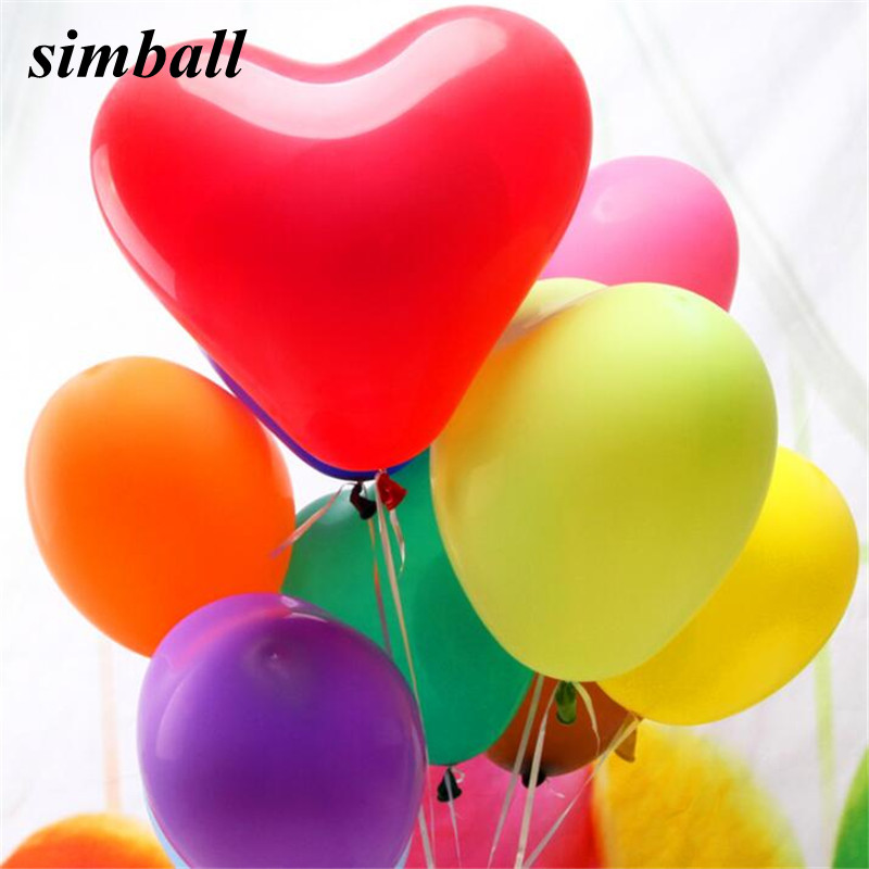 100pcs Helium Latex Heart-shaped Ballons Party Wedding Birthday Decor+Air Pump