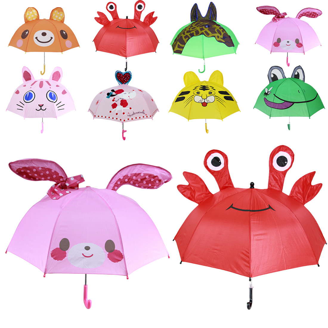 16e99651667b8 3D Animals Print Cute Umbrella for Boy Children Cartoon Long Handle Rain  Umbrella Girl Sun Protection