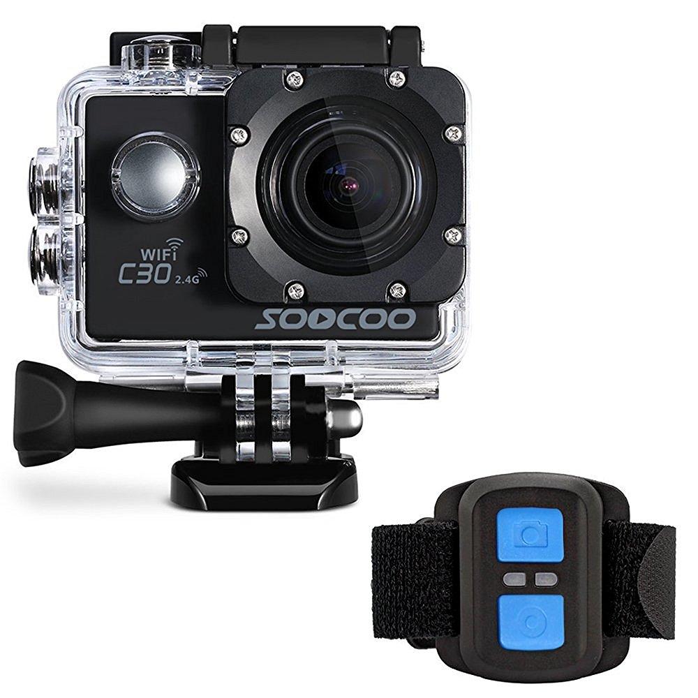 Prix pour Soocoo c30r 4 k action sports caméra camwifi 4 k gyro réglable angles de vision (70-170 degrés) ntk96660 avec télécommande