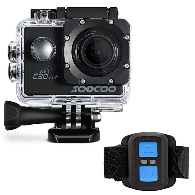 Soocoo c30r gyro câmera de ação de esportes wi-fi 4 k ajustável ângulos de visão (70-170 graus) ntk96660 com controle remoto
