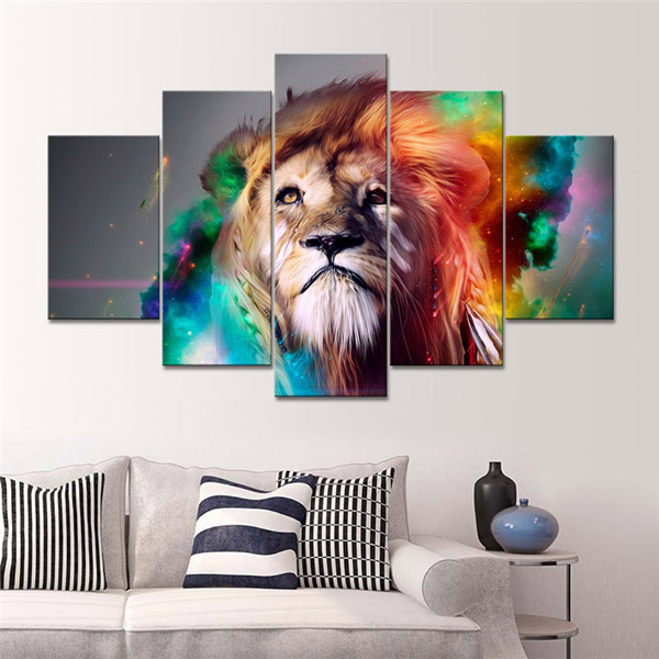 Charmant Home Decoration Printed Oil Painting Canvas Prints No Frame 5 Panel Wall  Art Lion Face Sandstorm
