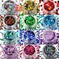 TCAST-001 Láser Color (holográfica) 12 tipos de color y 12 tipos Glitter forma de uñas de arte de uñas de gel, maquillaje y la decoración de DIY