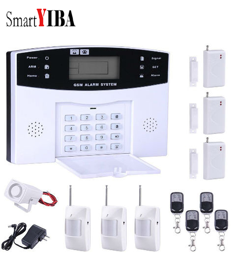 SmartYIBA Home Safety And Security Alarm System GSM Alarmes Voice Prompt LCD Display Wireless Wired Zone Alarm Kits metal box alarm tcp ip gsm wired alarm system support 8 wired and 32 wireless zone and 88 wired bus zone