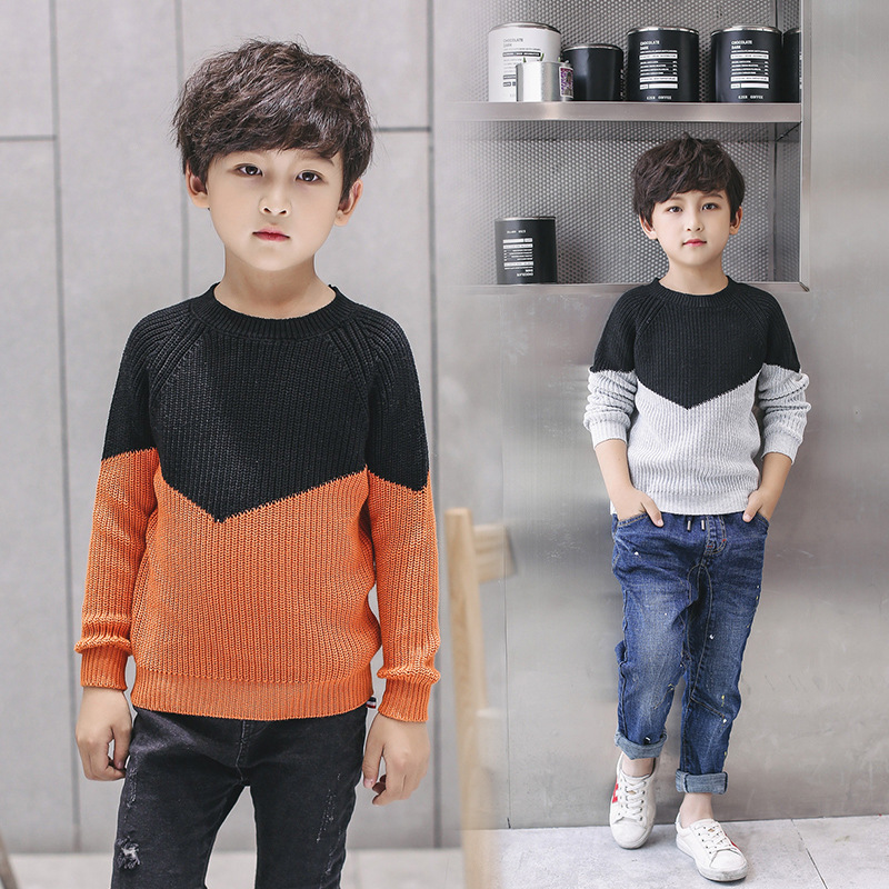 Retail 1pcs Good Quality 2017 New Kids Boys Autumn Winter Fashion Mixed Color Pullover Sweater For