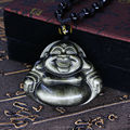 Beautiful Natural Gold Obsidian Carved Handmade Laughing Big Belly Buddha Lucky Pendant + free Beads Necklace Fine Jade Jewelry