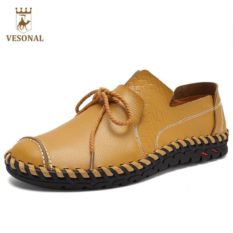 VESONAL Hot Sale 2017 Mocassin Male Brand Casual Shoes Men Loafers Genuine Leather For Man Footwear Boat Walking Driver Topsider купить