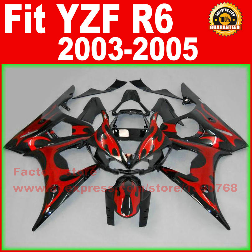 HOT motorcycle fairings kit for YAMAHA R6 2003 2004 2005 YZF R6 03 04 05  red flame black fairing kits body repair part road race motorcycle fairings kit for yamaha r6 2003 2004 2005 yzf r6 03 04 05 black silver fairing kits bodywork part