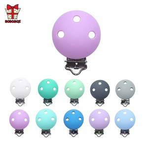 Image 2 - BOBO.BOX 10pcs Round Shaped Pacifier Clip Silicone Bead Baby Teether Soother Nursing Jewelry Toy Accessory Holder Teething Clips