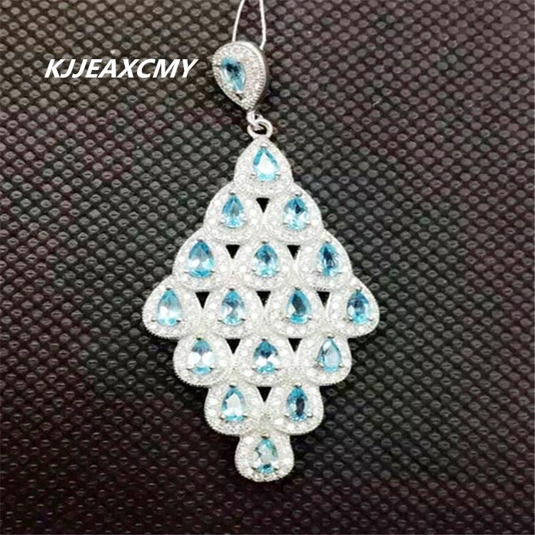 KJJEAXCMY boutique bijoux, 925 bijoux en argent sterling incrusté pendentif topaze pendentif en argent sterling bijoux pierre saphir