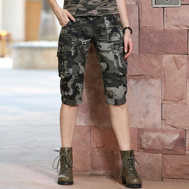 Image 5 - Высокое качество модные камуфляжные шорты модели Женские  панталоны Cortos Mujer летние женские камуфляжные шорты до колена Gk  9388shorts runningshorts womenshorts rompers for women