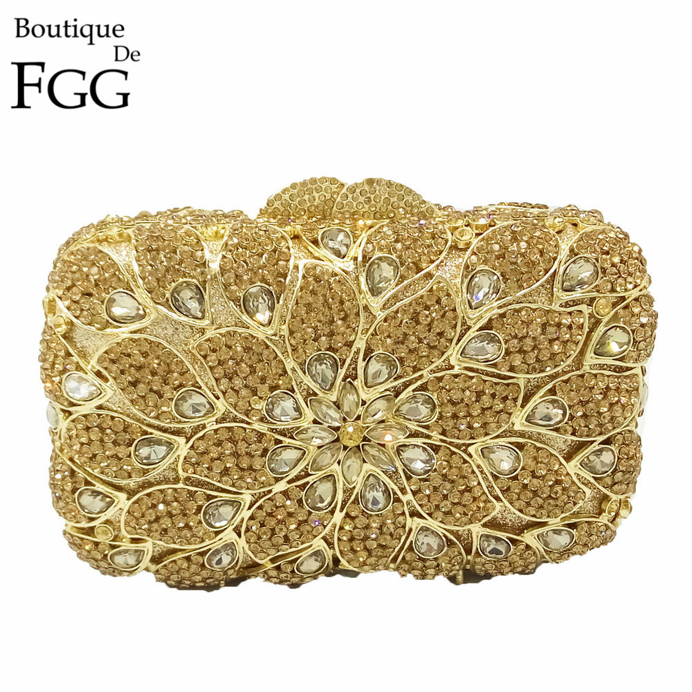 Elegant Women Golden Floral Hollow Out Crystal Evening Bags Metal Clutches Ladies Wedding Dinner Party Handbag Clutch Bag new luxury hollow handbag dinner party bag women s evening bag fashion women s crossbody bag women clutch bags lady gifts flower