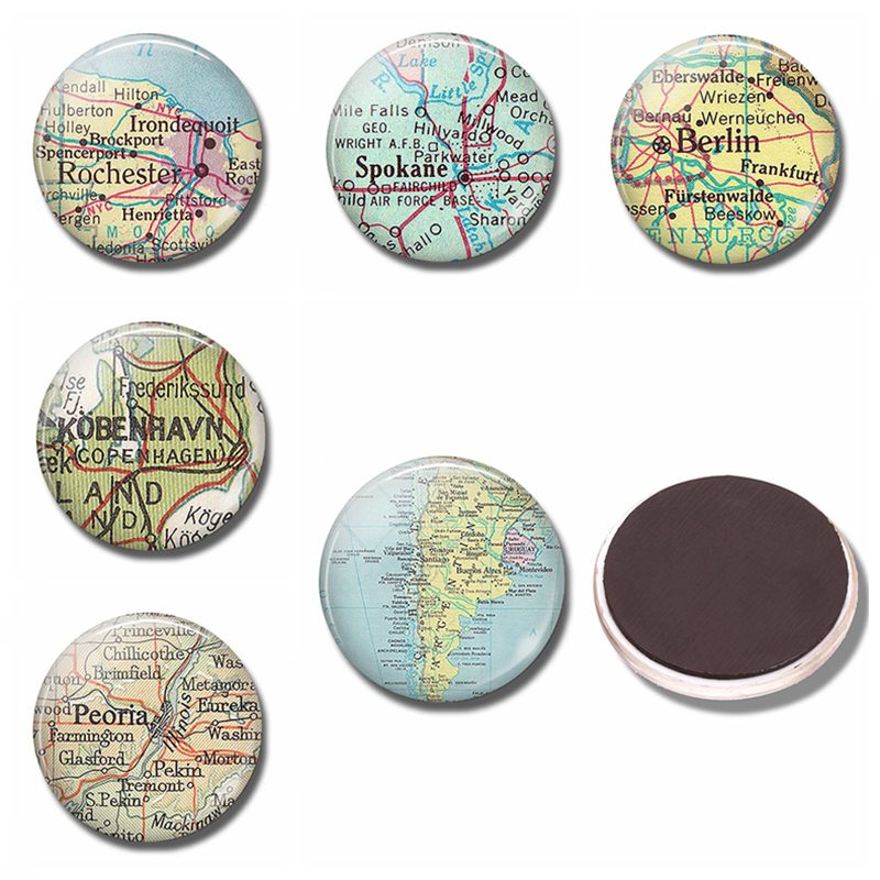 Argentina Map 30 MM Fridge Magnet Chile Vintage Travel Map Glass Cabochon Note Holder Magnetic Refrigerator Stickers Home Decor