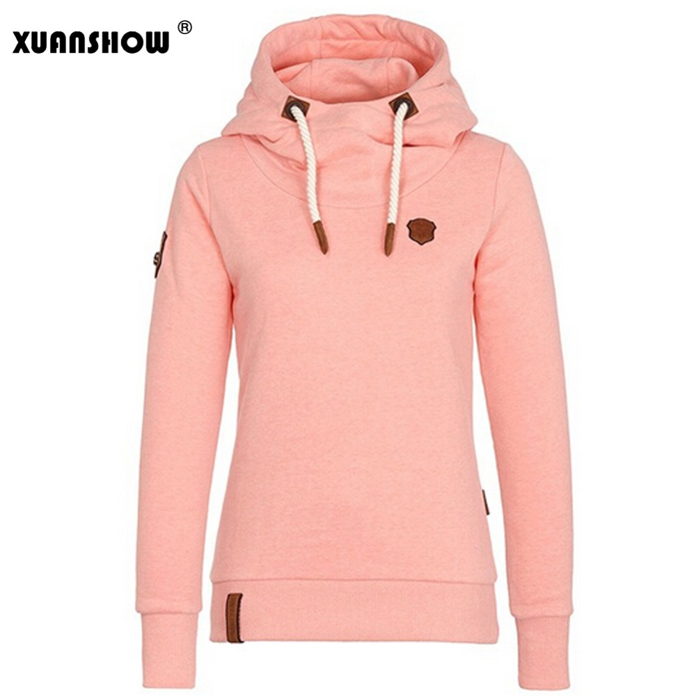 XUANSHOW 2018 Dammodell Fleeces Hoodies Damtröjor Casual Tracksuit Bomull Tjock Solid Long Sleeve Moletom Feminino