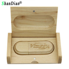 SHANDIAN (over 10PCS free LOGO) Wooden USB flash drive Maple wood + box pendrive 4GB 8GB 16GB 32GB memory stick wedding gift