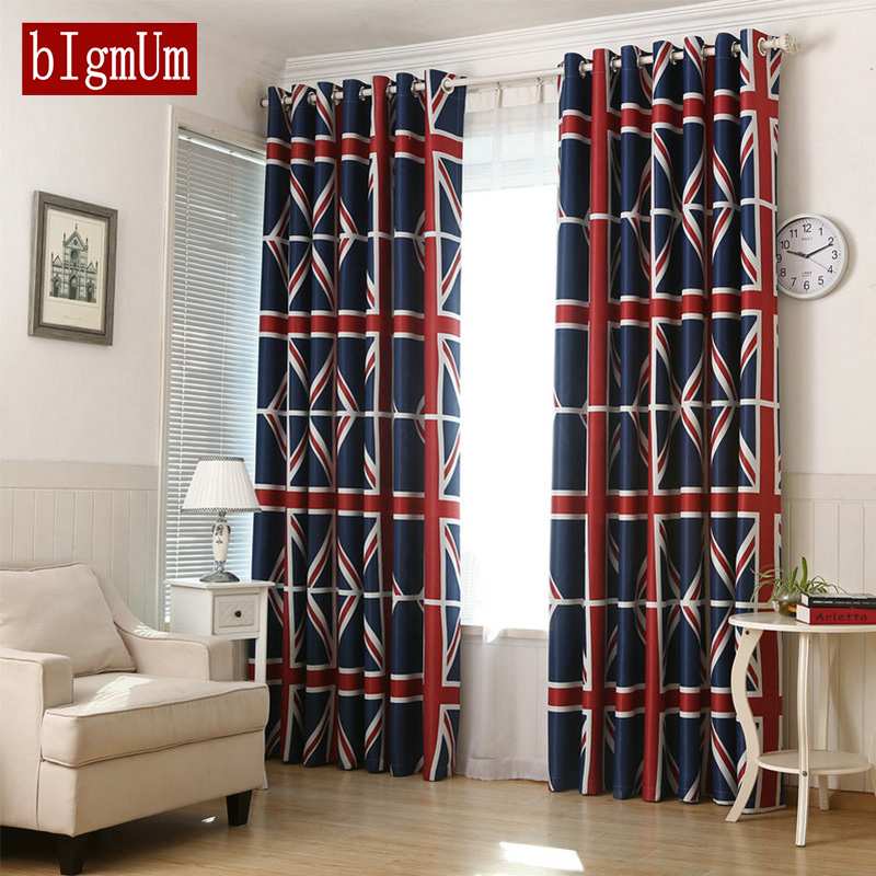 British/England Flag Print Environmental Shading Curtain And Tulle Blackout For Living Room Bedroom Vertical Blinds Window Drape