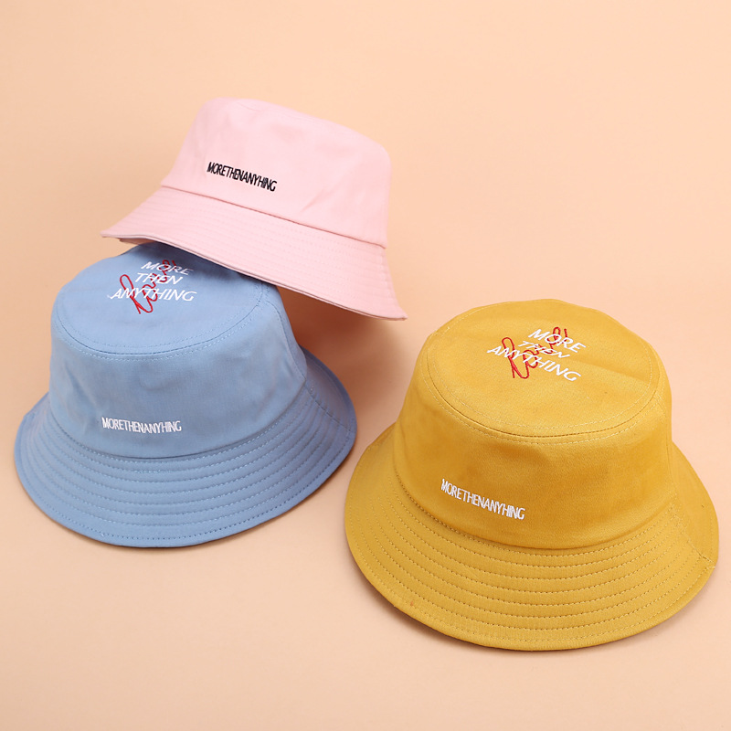 2019 New Letters Embroidery Fisherman Hat Women Foldable Flat Top Cotton Visor Summer Outdoor Leisure Basin Cap Men Bucket Hat