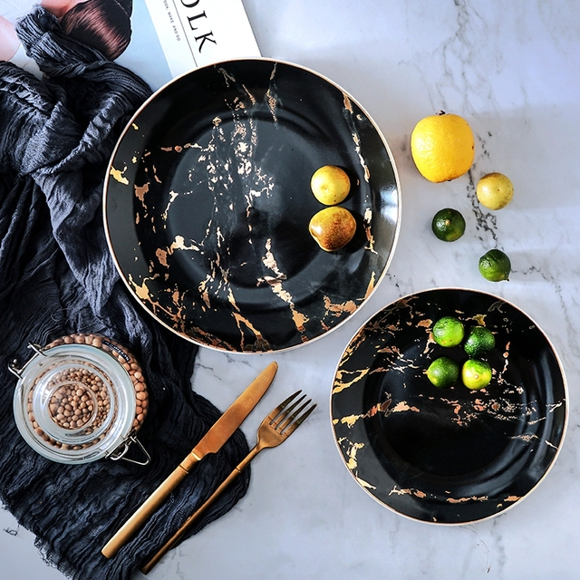 8 and 10 inch Gold Inlay Marble Ceramic Plate Unique Dinner Set Dish Dessert Plate Wholesale Dinnerware Cake Tray