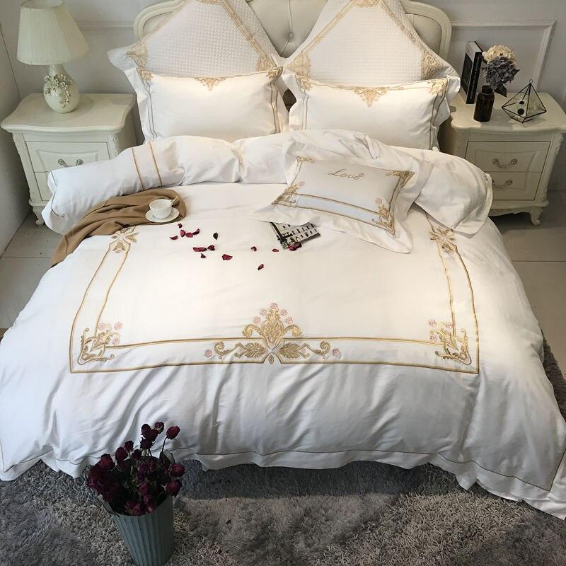 ③Algodón egipcio color blanco hotel de lujo Ropa de cama set oro