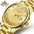 AESOP 9928 Switzerland watches men luxury brand genuine automatic mechanical watch men's double gold calendar stainless steel