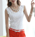 New Fashion Ladies' elegant sexy Lace sleeveless chiffon blouse vintage shirt hollow out knitted shoulder tops G0343