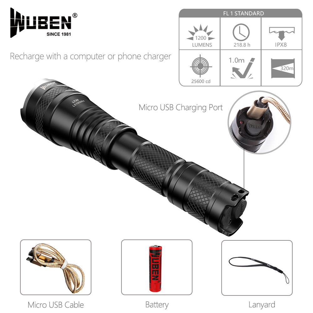Powerful LED Flashlight Zoomable Tactical flashlight 1200 Lumen USB Rechargeable 18650 Waterproof IPX8 Torch Cree XPL2 LED Light wuben led flashlight tactical torch 18650 battery usb rechargeable lights waterproof led lamp cree portable camping lantern l50