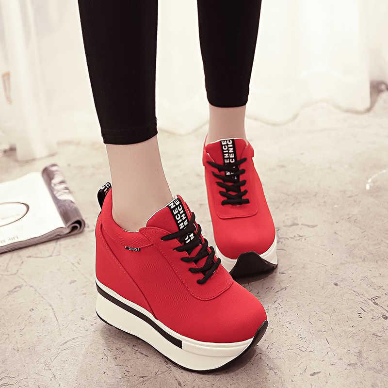 Phụ nữ Đôi Giày Thể Thao Thời Trang Phụ Nữ Chiều Cao Tăng Breathable Ren-Up Wedges Sneakers Nền Tảng Giày Vải Phụ Nữ Giản Dị Giày