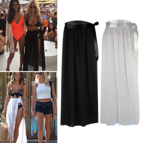 78ba049f81b Women Summer Bikini Black White Solid Cover Up Swimwear Sheer Beach Maxi  Wrap Skirt Sarong Pareo Dress