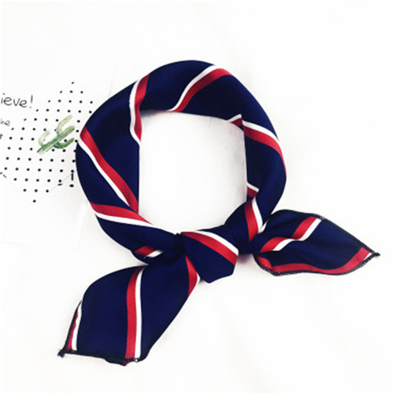Fashion Women Girl Elegant Square Printing Hotel Waiter Flight Attendant Business Imitate Silk Scarf Bandana Accessories
