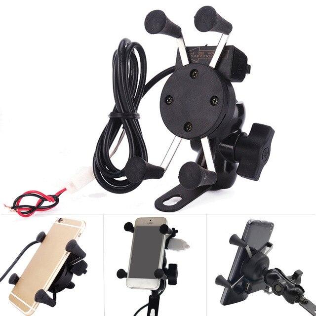 Besegad мотоцикл смартфон держатель подставка 2 в 1 360 градусов вращение USB зарядное устройство для 3,5-6 дюймов gps Электрический скутер