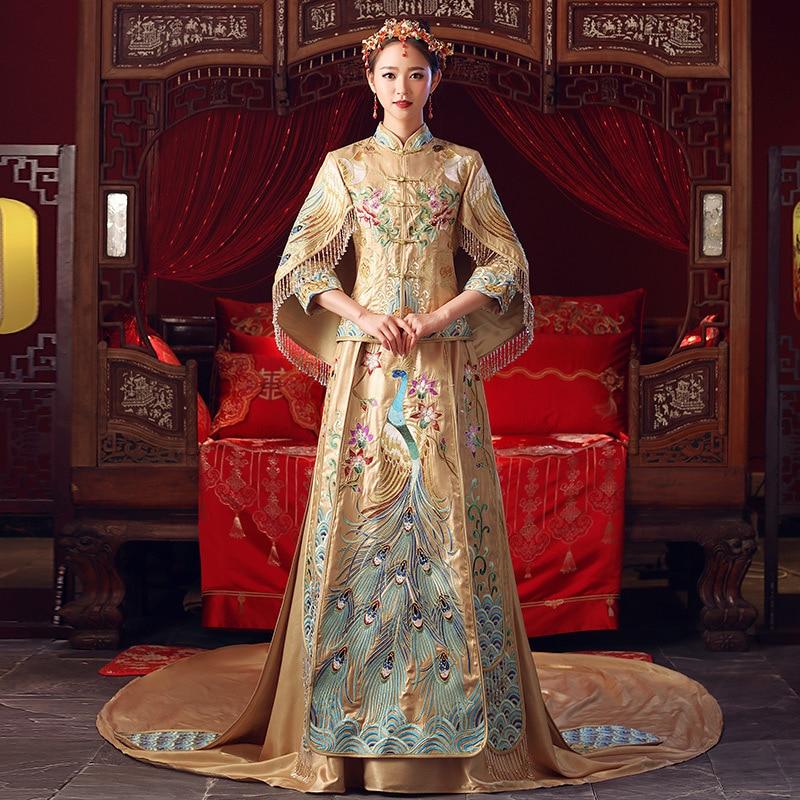 100% Kwaliteit Luxe Hoge Kwaliteit Handwerk Borduurwerk Pauw Qipao Chinese Traditionele Cheongsam Vrouwen Rechte Bruid Trouwjurk S-xxl
