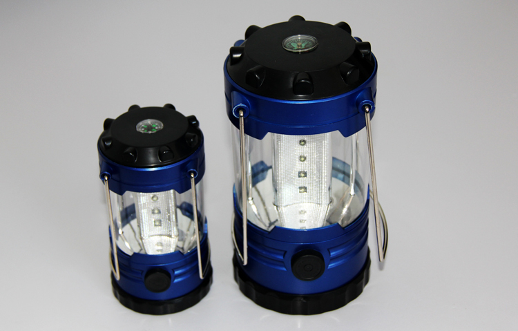 1 pc 12 LED Bivouac Camping Hiking Fishing Tent Lantern Light Lamp With Compass Blue