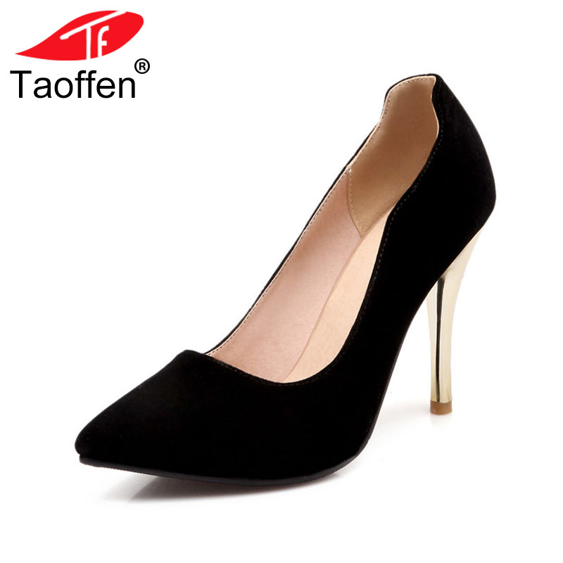 TAOFFEN women stiletto high heel shoes lady party quality footwear pointed toe brand heeled pumps heels shoes size 31-43 P17294 taoffen women stiletto high heel shoes pointed toe spring sweet footwear lady spring heeled pumps heels shoes size 34 47 p17515