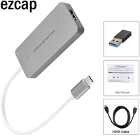 HDMI to Type C USB3.0 1080P Video Capture Card Grabber Phone PS3 PS4 Game Live Streaming for Macbook Mac Windows Win10 +4K Cable