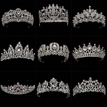 New Diverse Silver Crystal Bride Crowns Fashion Pearl Queen Wedding Headdress Headpiece Wedding Hair Jewelry Accessories