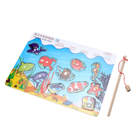 Magnetic Fishing Game Board Kids Wooden Jigsaw Puzzle Toy Lovely Cartoon Marine Life Puzzle Toy Dual
