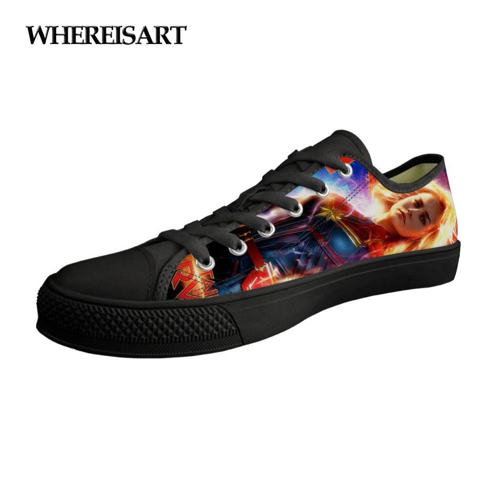 WHEREISART Women Sneakers Classic Low Style Female Girl Black Canvas Vulcanize Shoes Flats Lace Up Captain Mavel Print Shoes