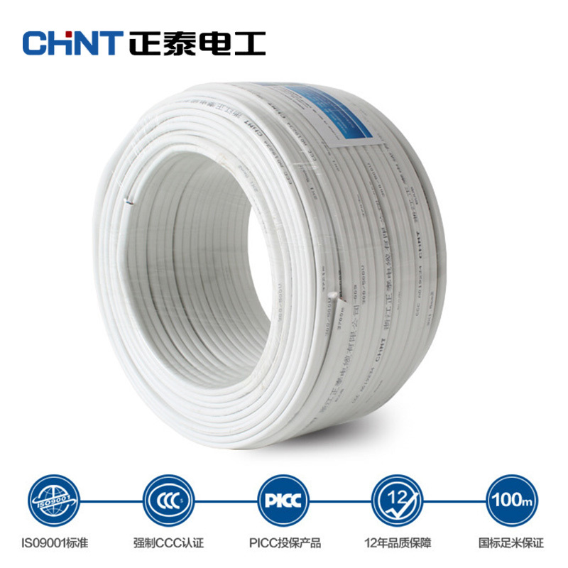 CHNT Wire And Cable Two Core Parallel Lines White Copper Wire BVVB 2 4 Square Jacket Line 10 Meters in Wires Cables from Lights Lighting