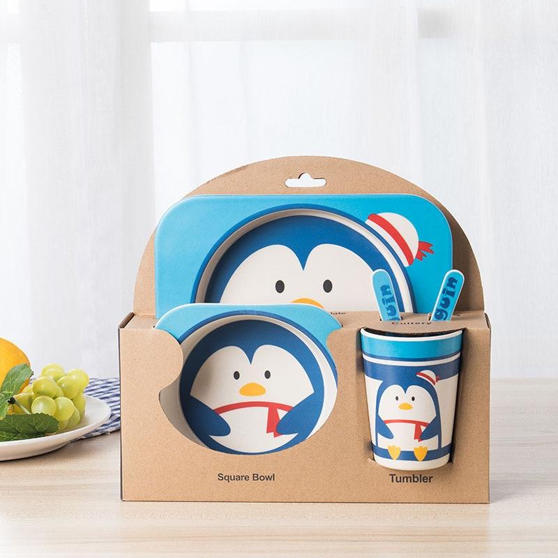 5 Pcs/Set Baby Feeding Plate Cartoon Kid Dishe Creative Anti-fall Bamboo Fiber Tableware for Feeding Partition Dishes Dinnerware